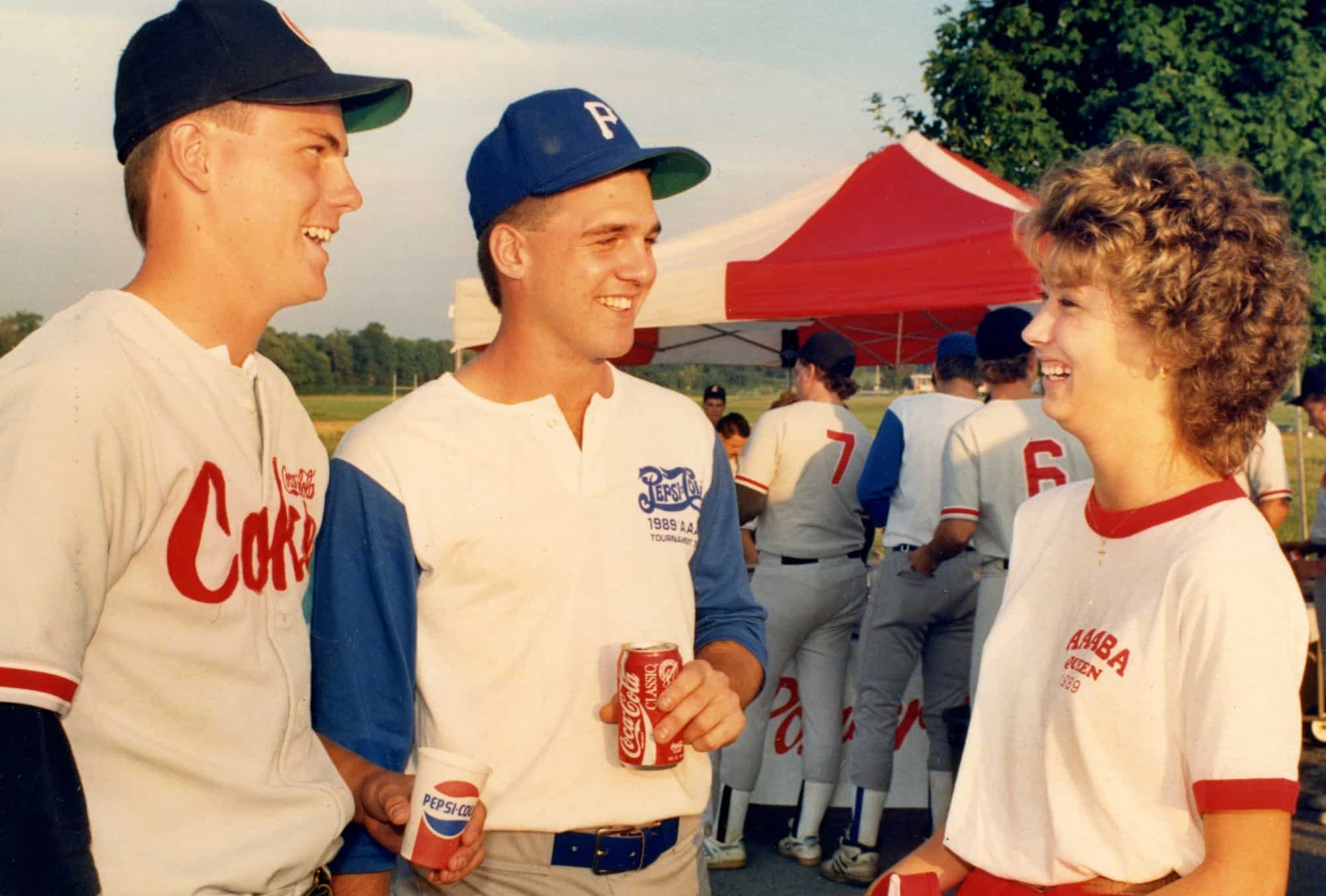 Coke and Pepsi represent Johnstown in 1989-1889 Flood Centennial AAABA Tourn