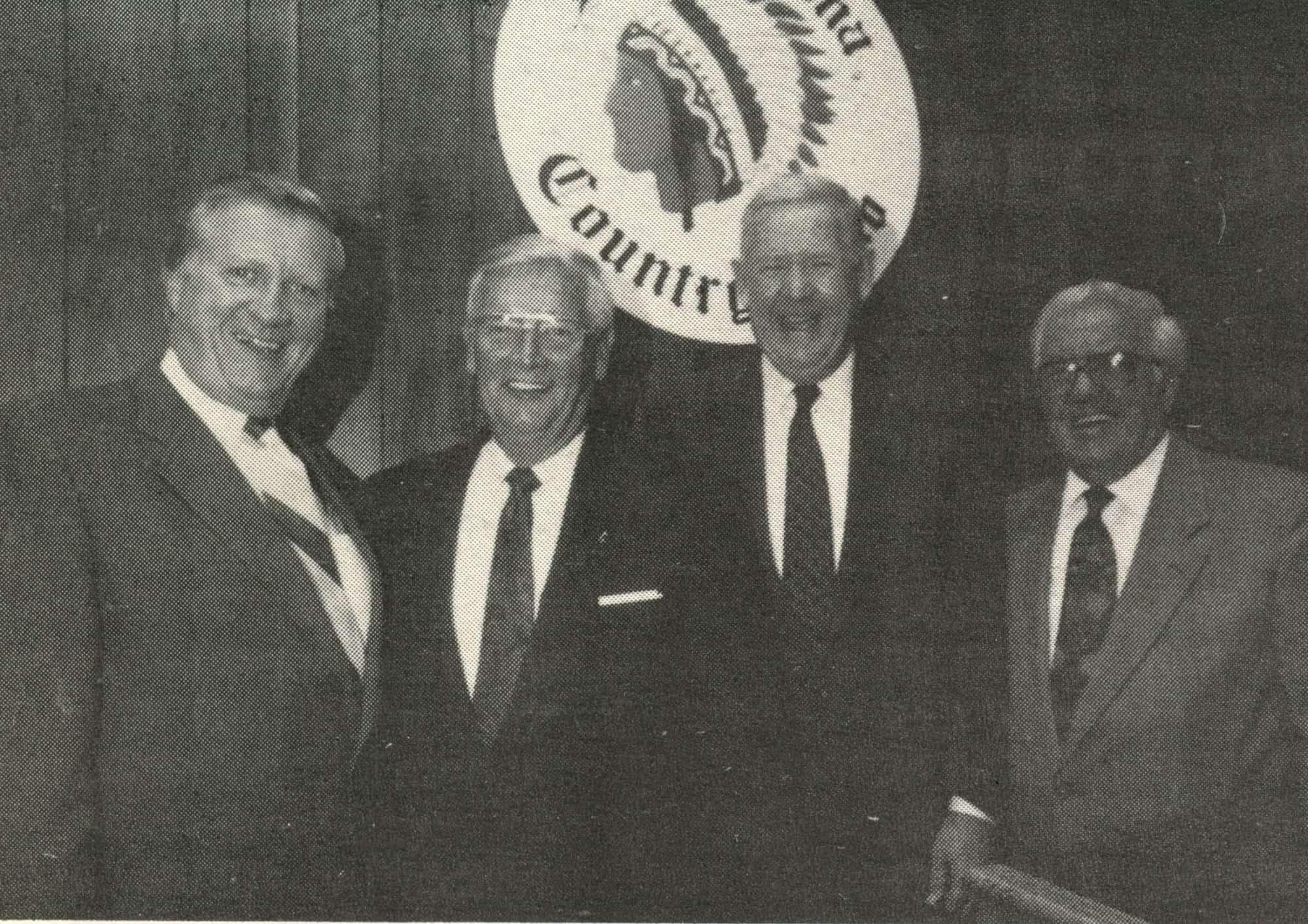 George Steinbrenner-Mayor Pfuhl-Congressman Murtha-Oldtimers Pres George Arcurio Jr at AAABA HOF banquet