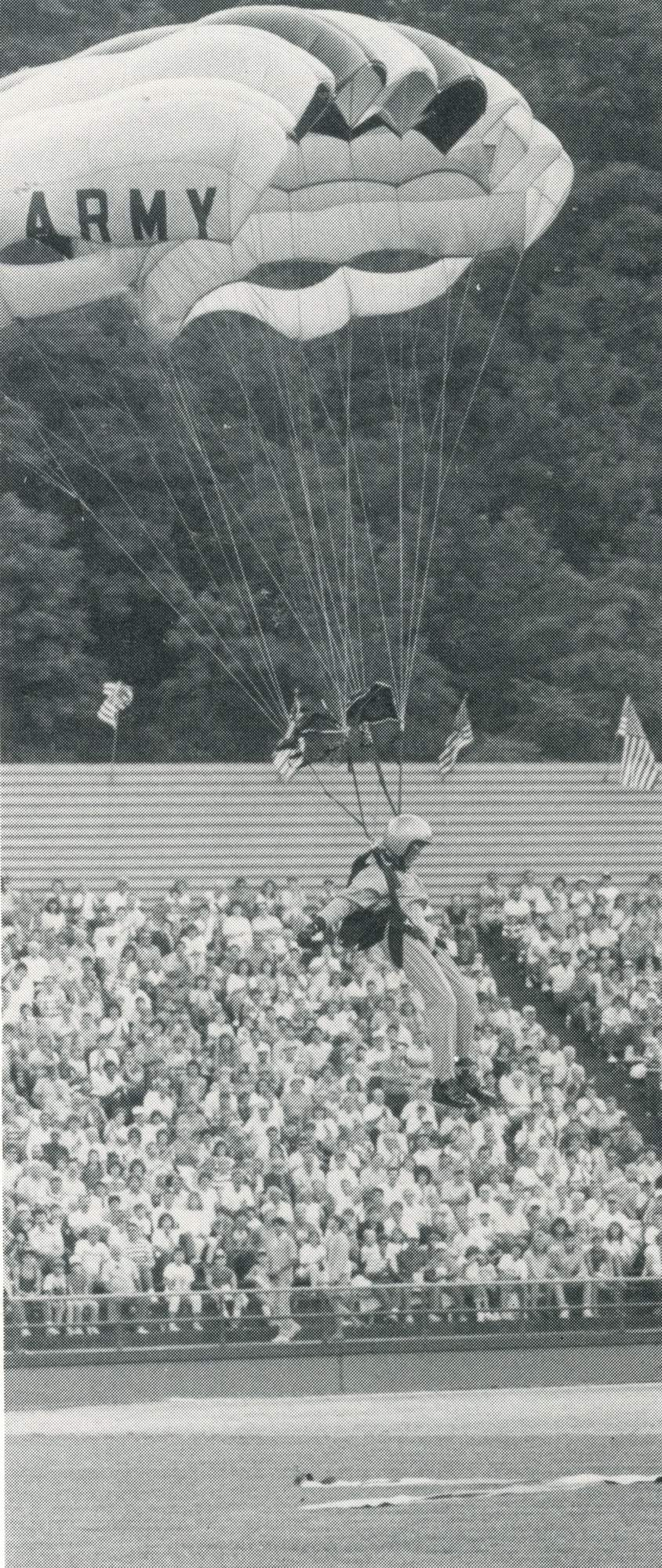 Point Stadium 1987 opener US Army Golden Knights Parachute onto field