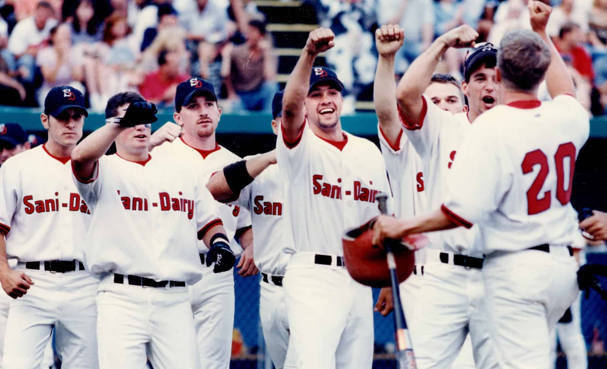 Sani-Dairy salute at home plate 1997