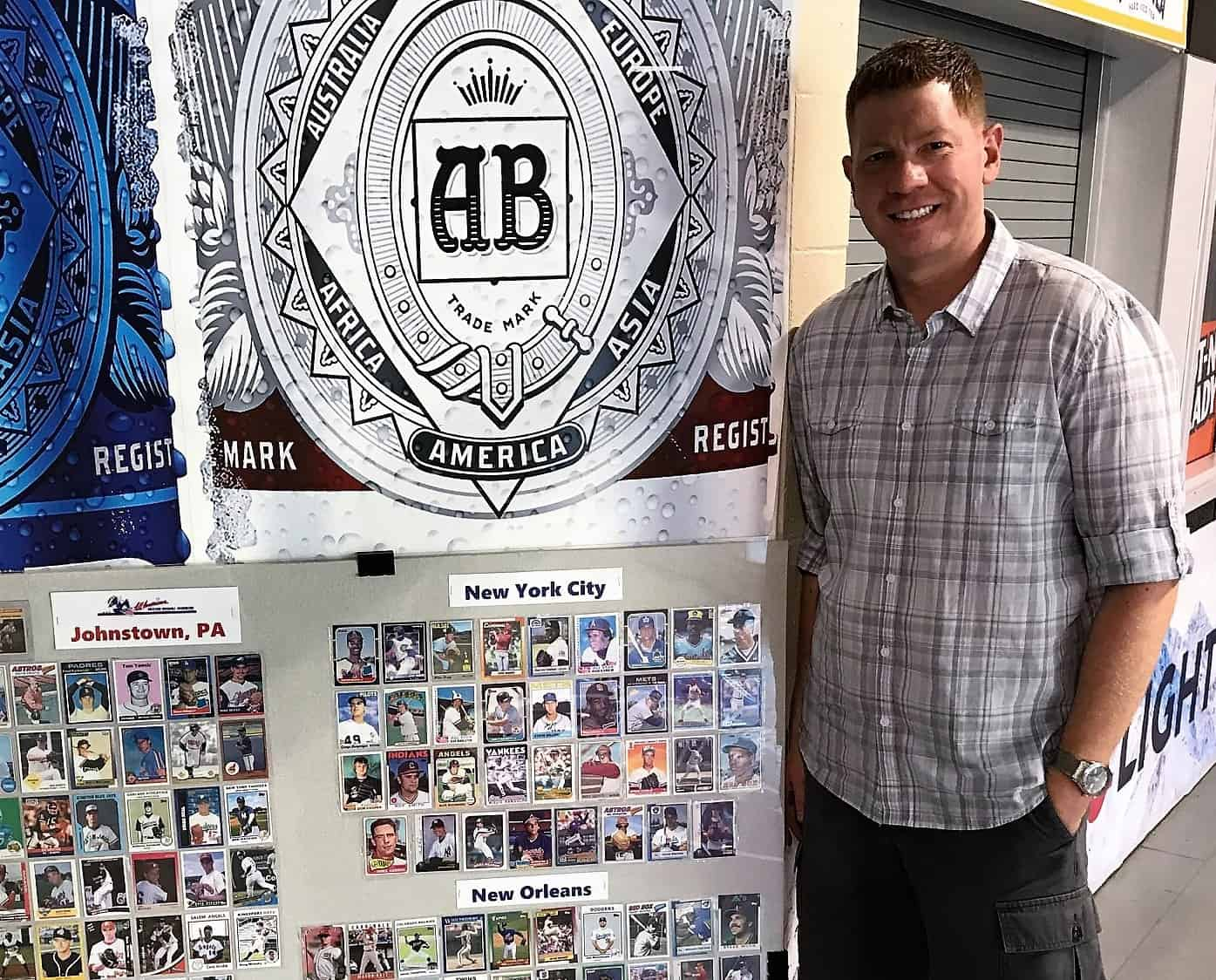 Rex Morgart with his card display 2018 – Copy
